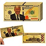 PartyYeah 10Pack Donald Trump 1000 Dollar Bill Banknote, One Thousand 24k Gold Coated Donald Trump Legacy Limited Edition Million Dollar Bill Great Gift for Coin Currency Collectors and Republican