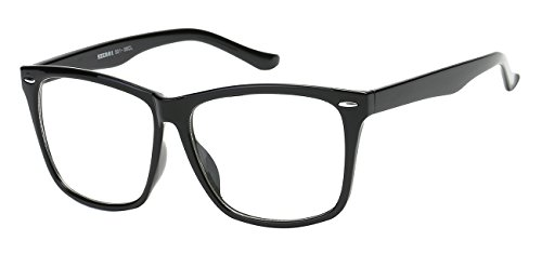 5zero1 Fake Glasses Big Frame Nerd Party Men Women Fashion Classic Retro Eyeglasses, - Black Frames Hipster