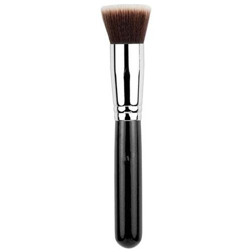 Portable Professional Large Cosmetic Blending Foundation Makeup Brush Silver Flat