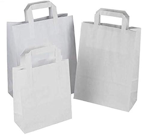 Packitsafe - Bolsas de papel blanco con asa SOS Bolsas de transporte con asas planas, bolsas de fiesta, bolsas de regalo, bolsas de comida para llevar en tres tamaños pequeño, mediano y