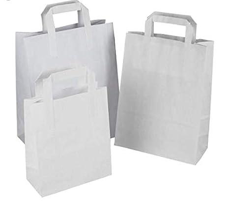 Packitsafe Bolsas de papel blancas SOS manejadas. Bolsas de transporte de mano plana, bolsas de fiesta, bolsas de regalo, bolsas de transporte en tres ...