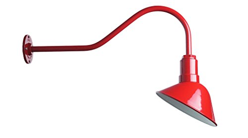 Barn Lighting Angled Reflector and Gooseneck Sign Light - Farmhouse Style Lighting Made in USA - The Venice Steel Light (Red)