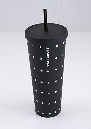 Starbucks Acrylic Venti 24-Ounce Double Walled Cold Cup Emoji Tumbler (Black Matte)