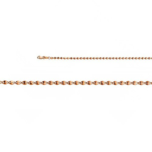14k Rose Gold 2.2mm Hollow Curve Mirror Chain Necklace with Lobster Claw Clasp - (14k Chain Curves)