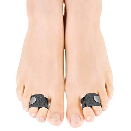 Toe Straightener Brace Splint Wrap for Hammer Toes, Overlapping Toes and Broken Toe Splint to Correct Bent Toes – Superior Toe Tape for Men and Women (1 Pair) (Black)