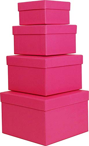 Cypress Lane Square Rigid Gift Box for Girl, a Nested Set of 4, 3.5x3.5x2 to 6x6x4 inches (Pink) -