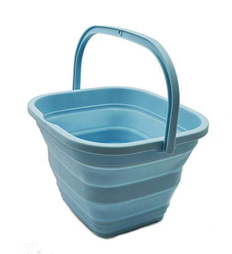 Canasta / balde plegable de 10l. rectangular aqua cekeste