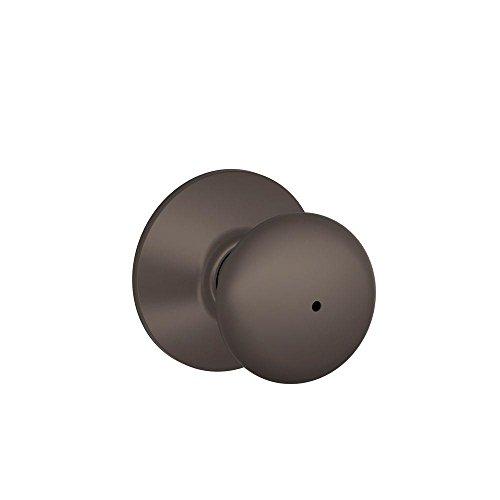 Schlage F40PLY613 Plymouth F40 Round Full Ball Door Knob Lockset, Unkeyed, Solid, Oil Rubbed Bronze, Brass