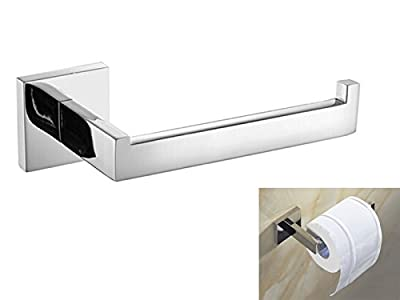 Trade042 Luxury 304 Stainless Steel Chrome Finished Toilet Paper Holder Roll Quadrate Wall Mounted Mirror Polished Bathroom Accessories