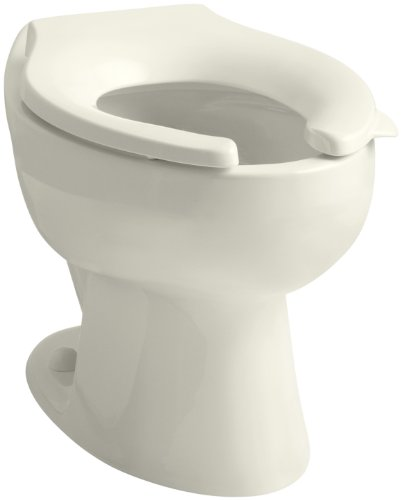 - Kohler K-4349-96 Wellcomme Elongated Toilet Bowl with Rear Spud, Less Seat, Biscuit