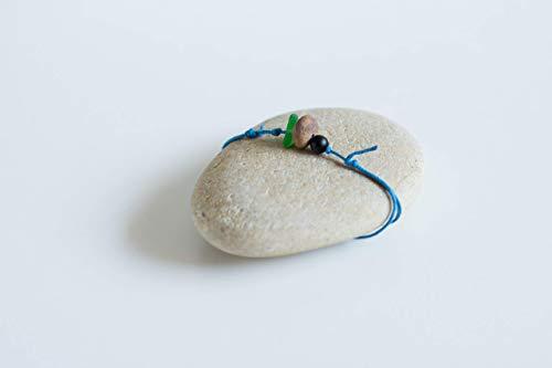 Beach pebble bracelet, Pebble, matte onyx and sea glass bracelet, Beach rock bracelet, Beach stone anklet, Natural material jewelry, Zen bracelet, Stone and sea glass bracelet, South of France jewelry (Beach Pebble Matte)