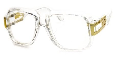SSS - Classic Retro Crystal Square Frame RUN DMC Clear Lens Eye Glasses (Crystal Clear  Gold)