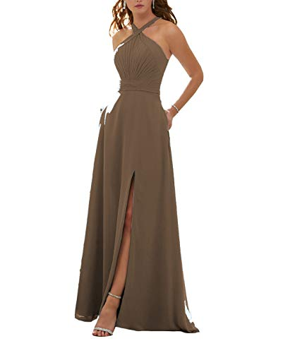Stylefun Women's Halter Bridesmaid Dresses Slit 2019 Formal Prom Evening Party Gowns with Side Pockets 2 Brown