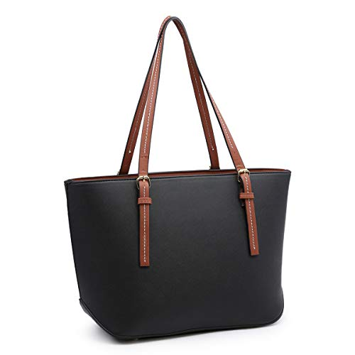 XB Laptop Tote Bag Fits Up to 13.3'' Lightweight Work Tote Bag Women's Top Handle Satchel Handbags Purse Tote Shoulder Bag (Black)
