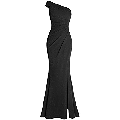 Fazadess Women's Ruched One Shoulder Side Split Evening Party Dress: Clothing