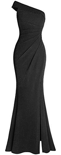 Fazadess Women's Ruched One Shoulder Split Wrap Formal Evening Party Dress Black