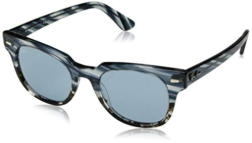 (Ray-Ban RB2168 Meteor Square Sunglasses, Striped Blue Gradient Grey/Light Blue, 50 mm)
