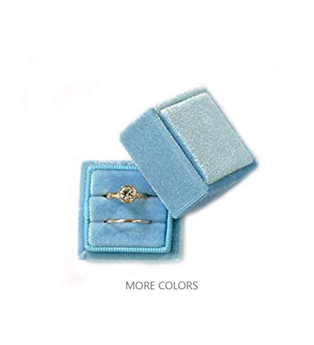 Velvet Square Single Ring Box, Photography Prop, Vintage Wedding Ceremony Ring Box with Detachable Lid, Engagement Ring Box Holder, Modern Slim Ring Box Display (Dusty Sky Blue, Double Ring Box)