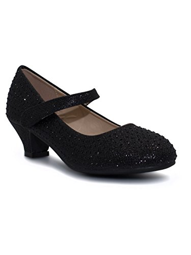 katt_brand Girls Party Bridesmaid Glitter Diamante Wedding Wedge Low Heel Shoes Black W0vm1gJT