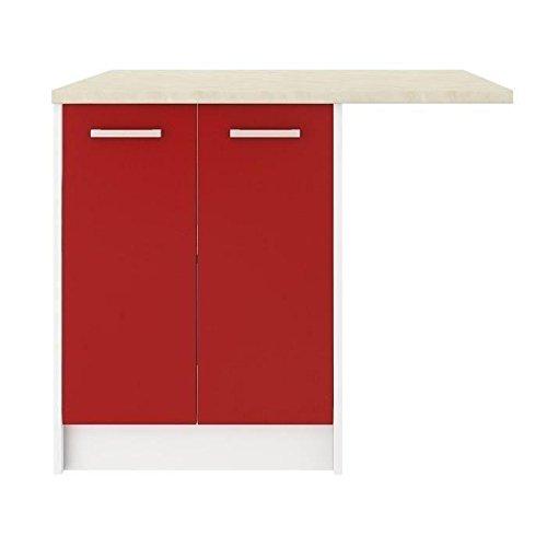 Rouge mat CARMEN Ilot de cuisine L 100cm avec plan de travail inclus