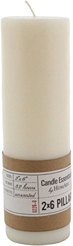 HomArt Pillar Paraffin Wax Candle, 2-Inch by 6-Inch, Ivory