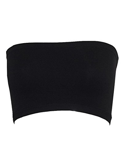 (Qunson Women's Strapless Stretch Layer Seamless Tube Bra Bandeau Top (black))