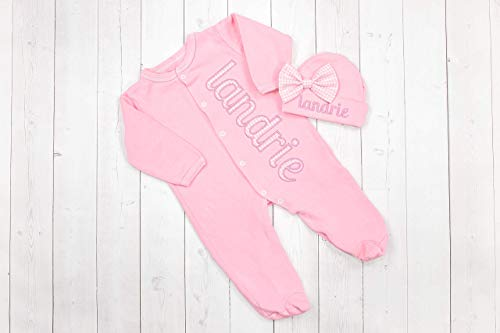 Infant Girl's Footed Pajamas Pink with Pink Gingham Personalized Coming Home Outfit