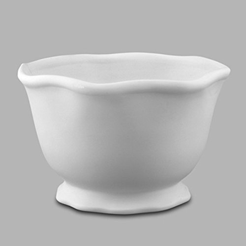 Creative Hobbies Ruffle Ware Bowl, Case of 8, Unfinished Ceramic Bisque, With How To Paint Your Own Pottery Booklet