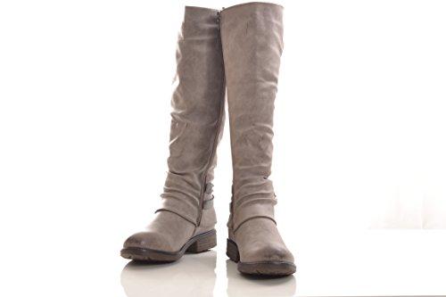 Winterstiefel Damen Stiefel Stiefelette warm gefüttert hochwertige Lederoptik Boots Biker Reiterstiefel 278PG Khaki