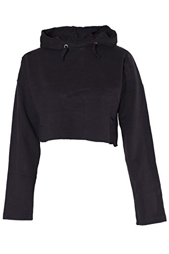 (Girls Plain Crop Top Ripped Hoodie (Black, 9-10 Years))