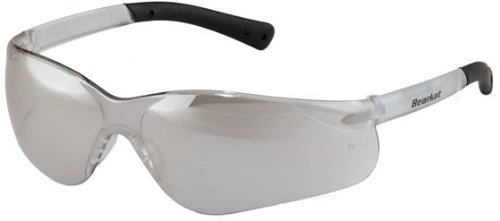 Crews BK319 BearKat 3 Polycarbonate Gray Lens Safety Glasses with Non-Slip Hybrid Black Temple Sleeve, 1 Pair