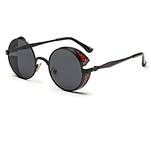 GAMT Retro Hippie Circle Sunglasses Round Metal Frame for Men and Women
