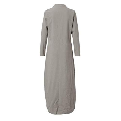 Caqui Cuello para Largo Kaftan Estampado Vestido Mujer V Vestido Dobladillo de Estampado Larga en Manga Largo ABsolute con con Vestido w01xXUqvTH