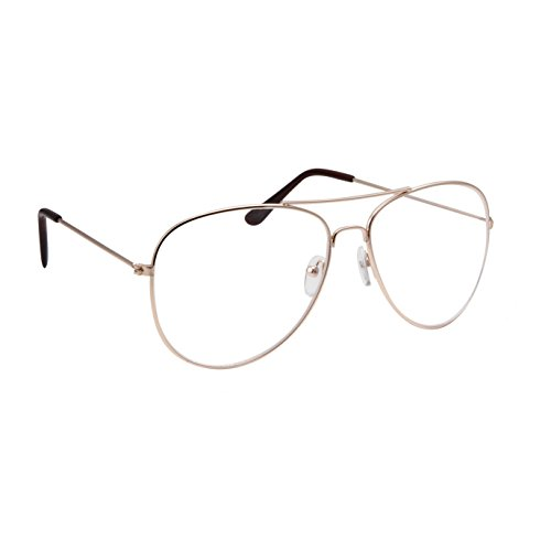 Classic Men's Or Women's Fashion Gold Aviator Glasses (3 Sizes) - - Aviator Fashion