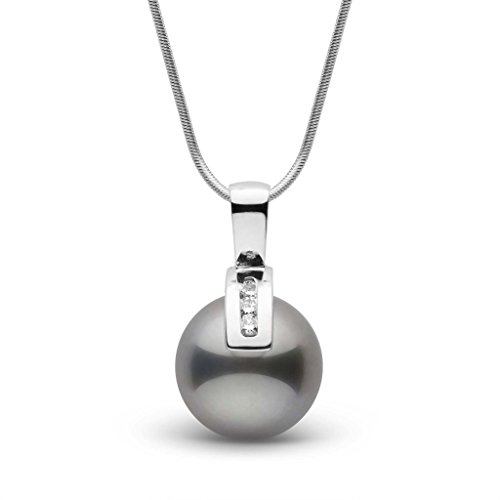 Athena Collection 11.0-12.0 mm Tahitian Cultured Pearl and Diamond Pendant - White Gold - 18 Inch