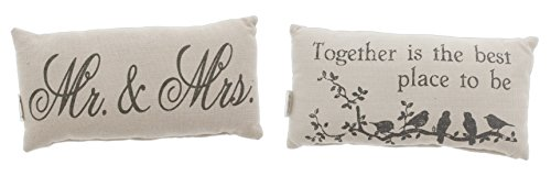 Country House Bundle of 2 Mini 12''x6'' Accent Pillows 'Mr. & Mrs.' & 'Together' by The Country House Collection