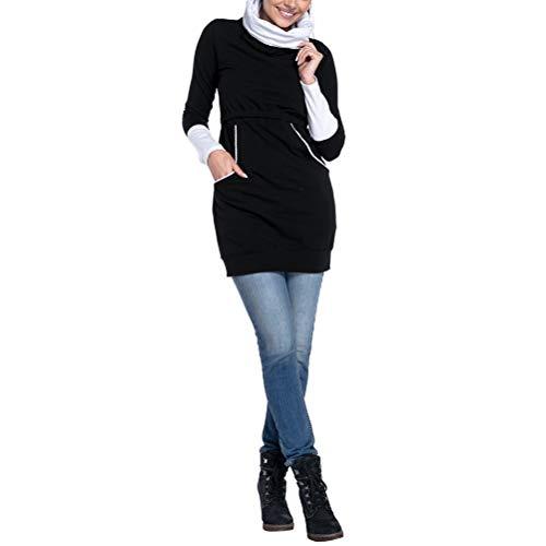 完璧なシャッター置くためにパックMaternity T-Shirt 授乳服 授乳口付き マタニティトップス - レディース 長袖 レイヤード 妊婦服 トップス 高い襟 [Zhhlinyuan]