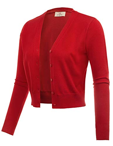 Long Sleeve Bolero Shrug Jacket Cardigan Sweater Red Size L CL2000-4