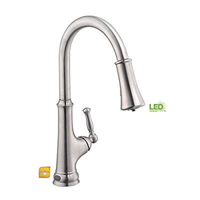 Glacier Bay Touchless LED Single-Handle Pull-Down Sprayer Kitchen Faucet with Soap Dispenser in Stainless Steel Model # 67536-0508D2