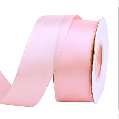 Ribbon Silk Ribbon Fabric Embroidery Supplies Satin Ribbon Rolls 4cm 25 Yards for Crafts DIY Craft Party Wedding Home Decoration (Pink) -