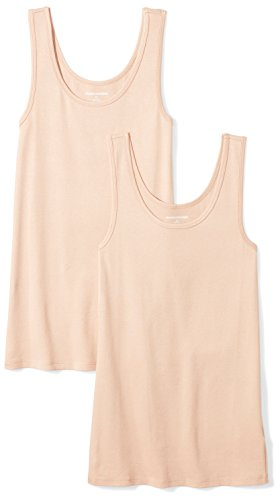 Amazon Essentials Women's 2-Pack Slim-Fit Tank, Nude, Small (Cotton Tank Top Shirt)