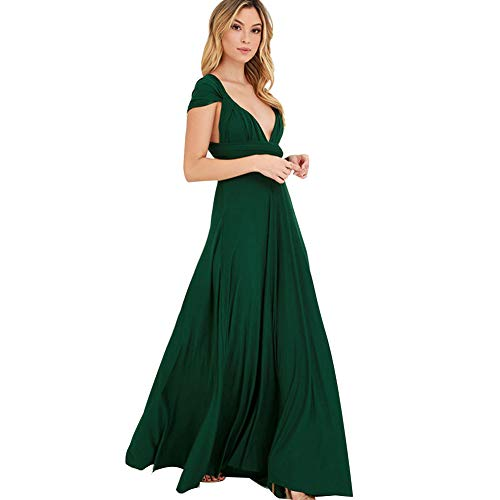 JET-BOND Night Dress Multi-Way Wrap Camisoles Halter Floor Long Dress High Elasticity FS41 (L, Green)