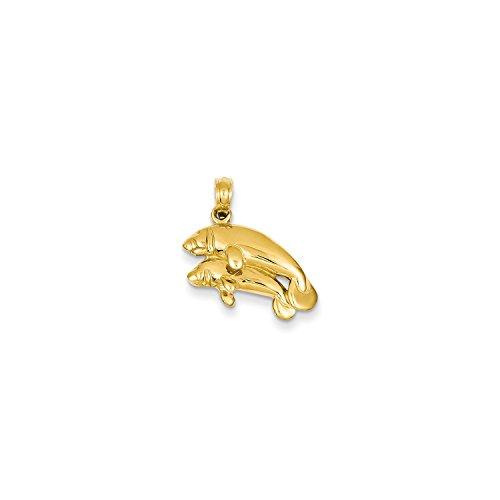 Roy Rose Jewelry 14K Yellow Gold Double Manatee Pendant 14k Yellow Gold Manatee