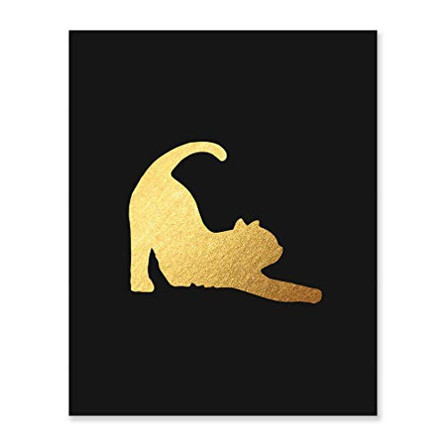 Funny Cat Art Gift Black Poster Gold Foil Birthday Present For Best Friend Yoga Pose Kitty Decor Animal Rescue Lover Living Room Unframed Wall Decoration Yellow Bedroom Friendship Sign 8 x 10 F19