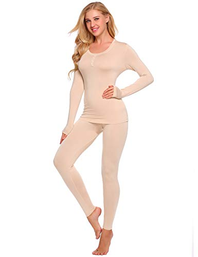 Ekouaer Women's Warm Thermal Underwear Set Long Johns Top&Bottom (Nude, Large)