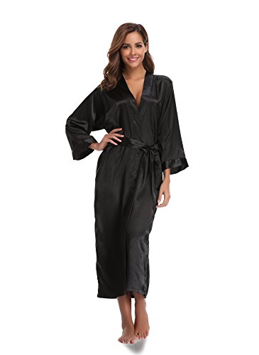 Sunnyhu Women's Pure Color Kimono Robe, Long (S, Black)