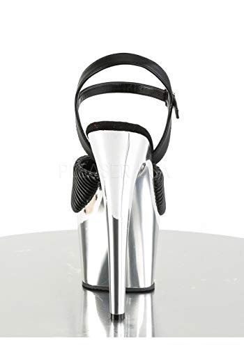 Silver Sandal Leather Women's Chrome Faux Platform and Quilted ADO709 BPU M Black Dress Pleaser q7wgxAYp