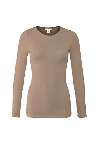 Bozzolo Women's RT1200 Basic Round Neck Long Sleeve T Shirt Top Cocoa L