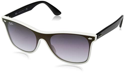 Ray-Ban RB4440N Blaze Wayfarer Sunglasses, White Demishiny/Violet Blue Gradient Mirror, 41 ()
