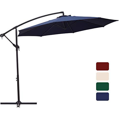 Patio Umbrella 10 ft Cantilever Offset Umbrella Outdoor Market Hanging Umbrellas Garden Umbrella & Crank with Cross Base, 8 Ribs (Navy Blue) ()